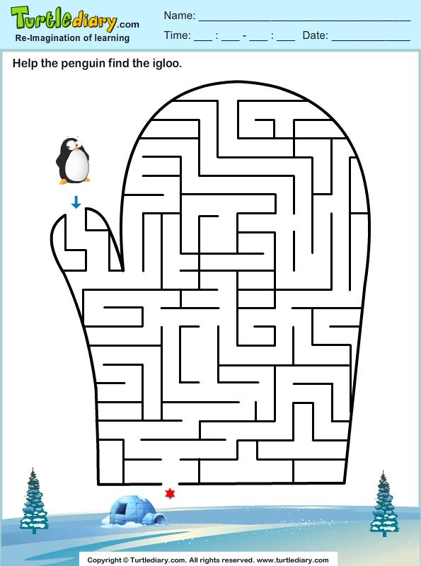 Winter Maze Worksheets Preschool. Winter. Best Free
