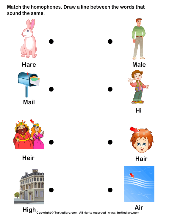 Homophones Matching Worksheet