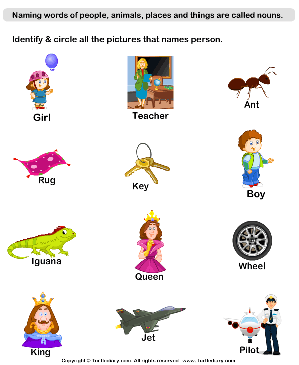 Identify Person Nouns Worksheet