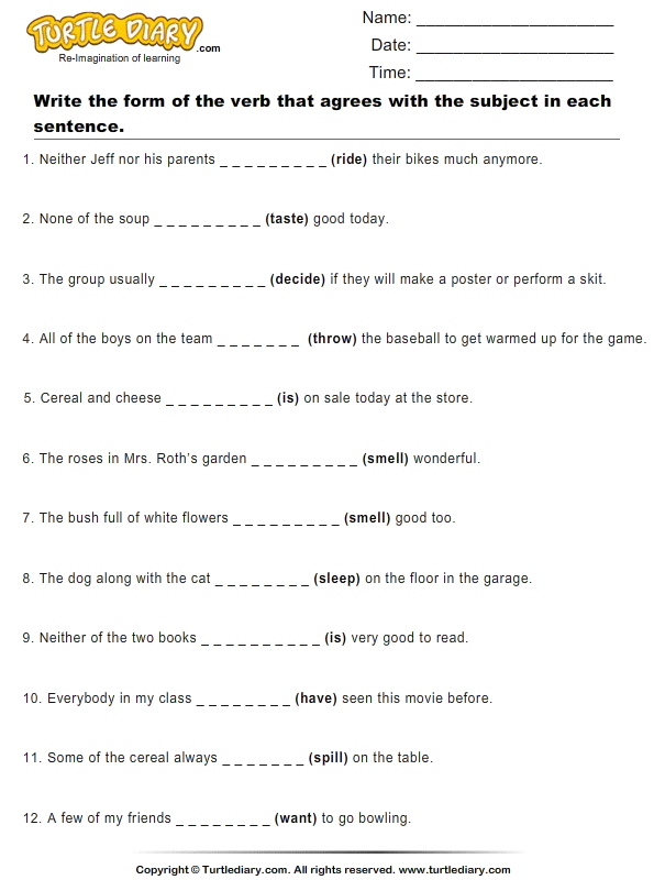 Identify The Form Of Verb Worksheet