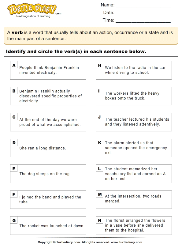 Identifying Verbs Worksheet