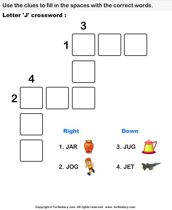 Letter J Crossword Worksheet