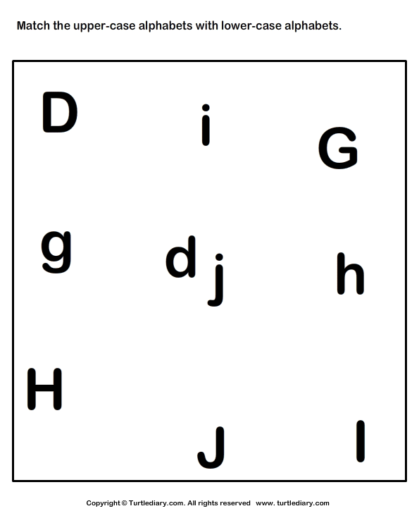 Match Uppercase To Its Lowercase Letter D To J Worksheet  Turtle Diary