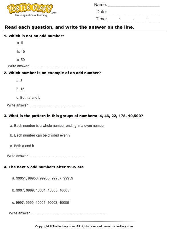 Patterns With Odd Numbers Worksheet