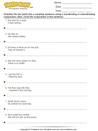 Sentence Combining Worksheet - Turtle Diary