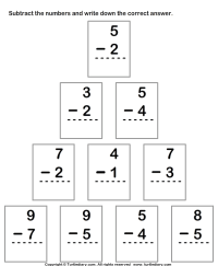 Single Digit Subtraction within Ten Worksheet - Turtle Diary