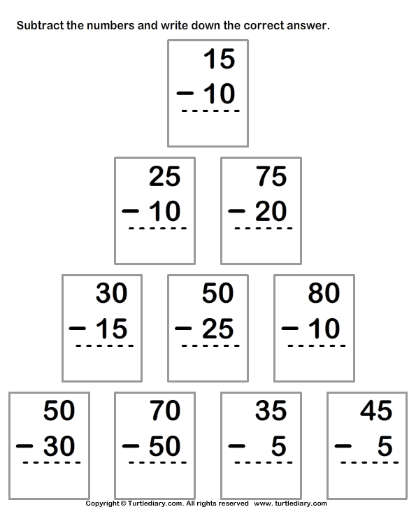 Subtract Numbers up to Two Digits From Two Digit Numbers
