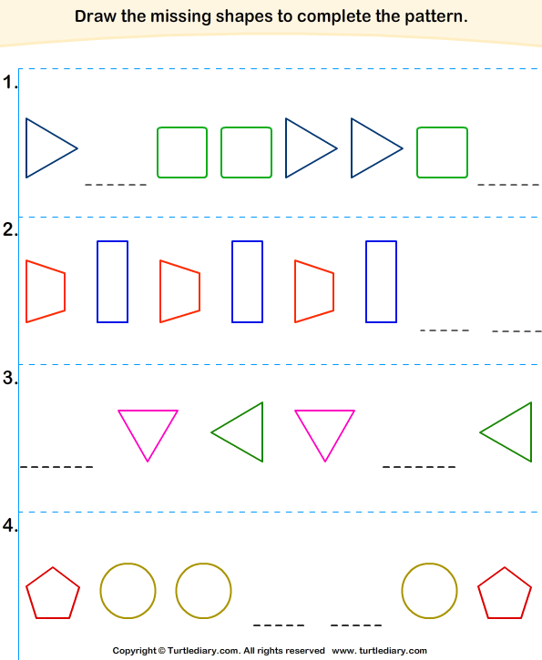 Which Shape Comes In The Blanks Worksheet