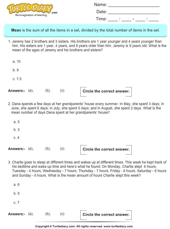 Word Problems On Mean Worksheet