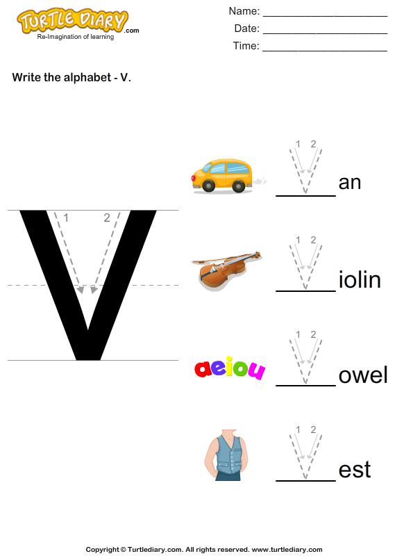 Write Alphabet V In Uppercase Worksheet