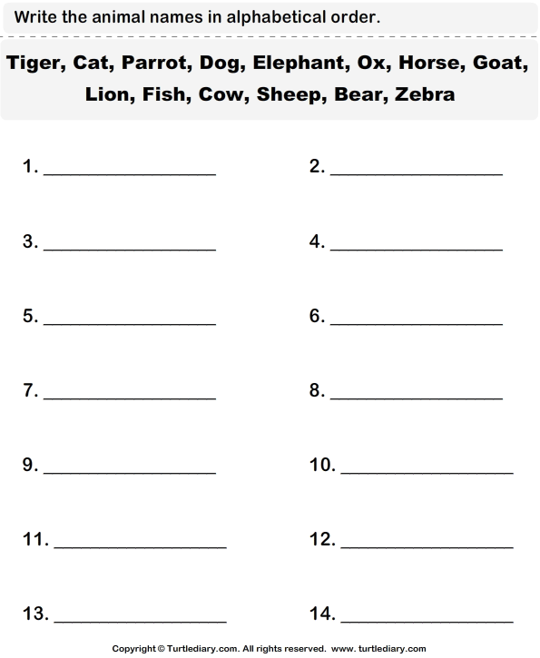 Write The Animal Names In Alphabetical Order Worksheet 1