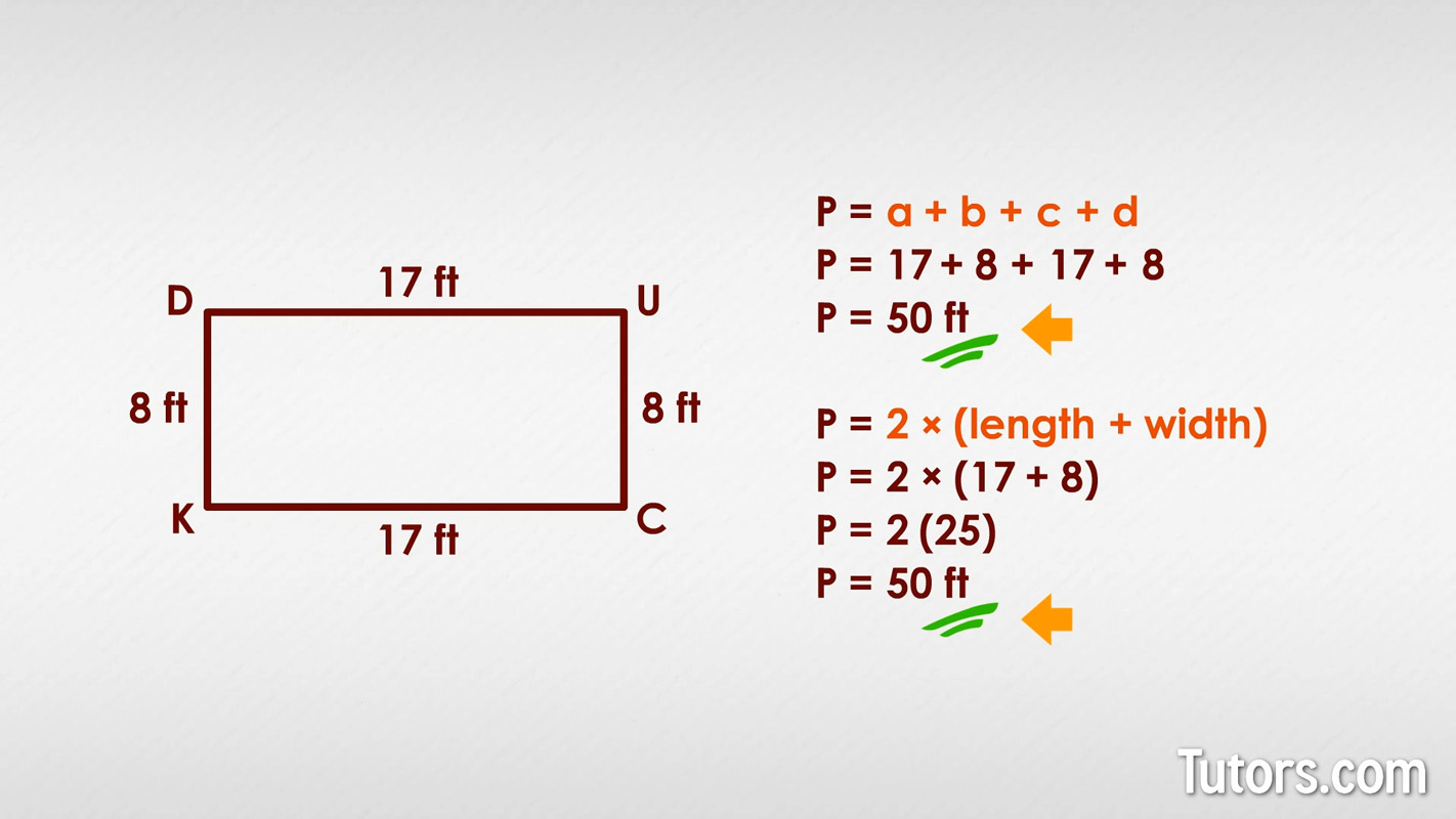 How To Find The Perimeter Of A Rectangle Formula Amp Video