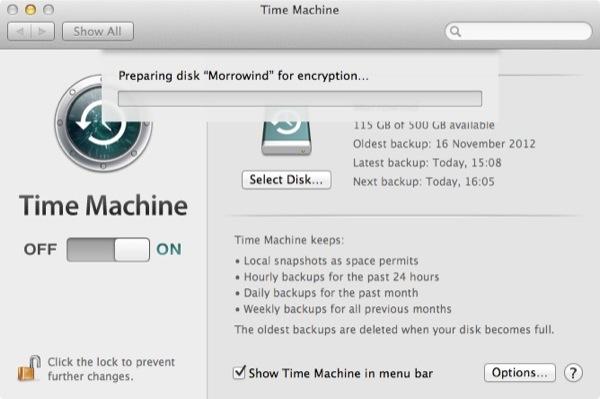 Time Machine peut également prendre beaucoup de temps pour crypter le disque en fonction de la vitesse et de la taille