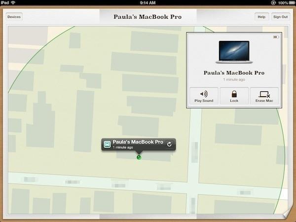Mon Mac s'affiche sur une carte agrandie.