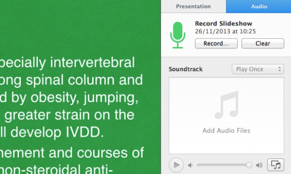 Your recorded narration will then be inserted into your presentation.