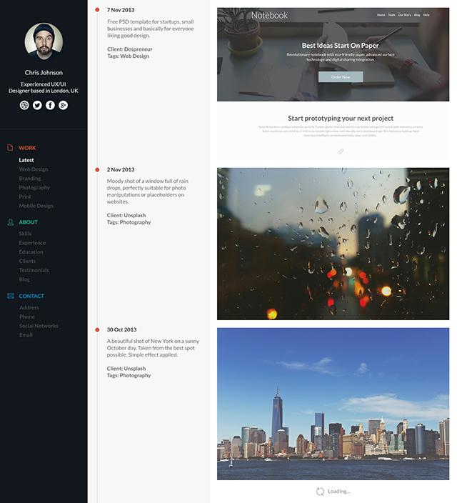 Timeline portfolio preview