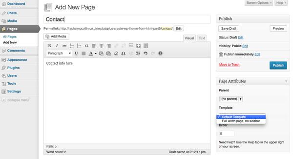 using custome page in wordpress