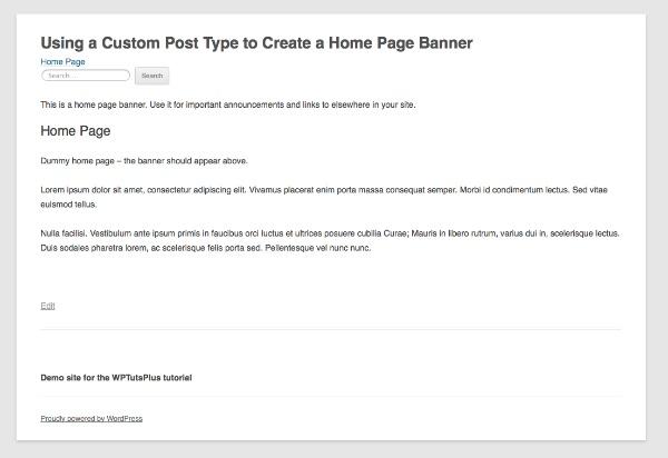 banner custom post type
