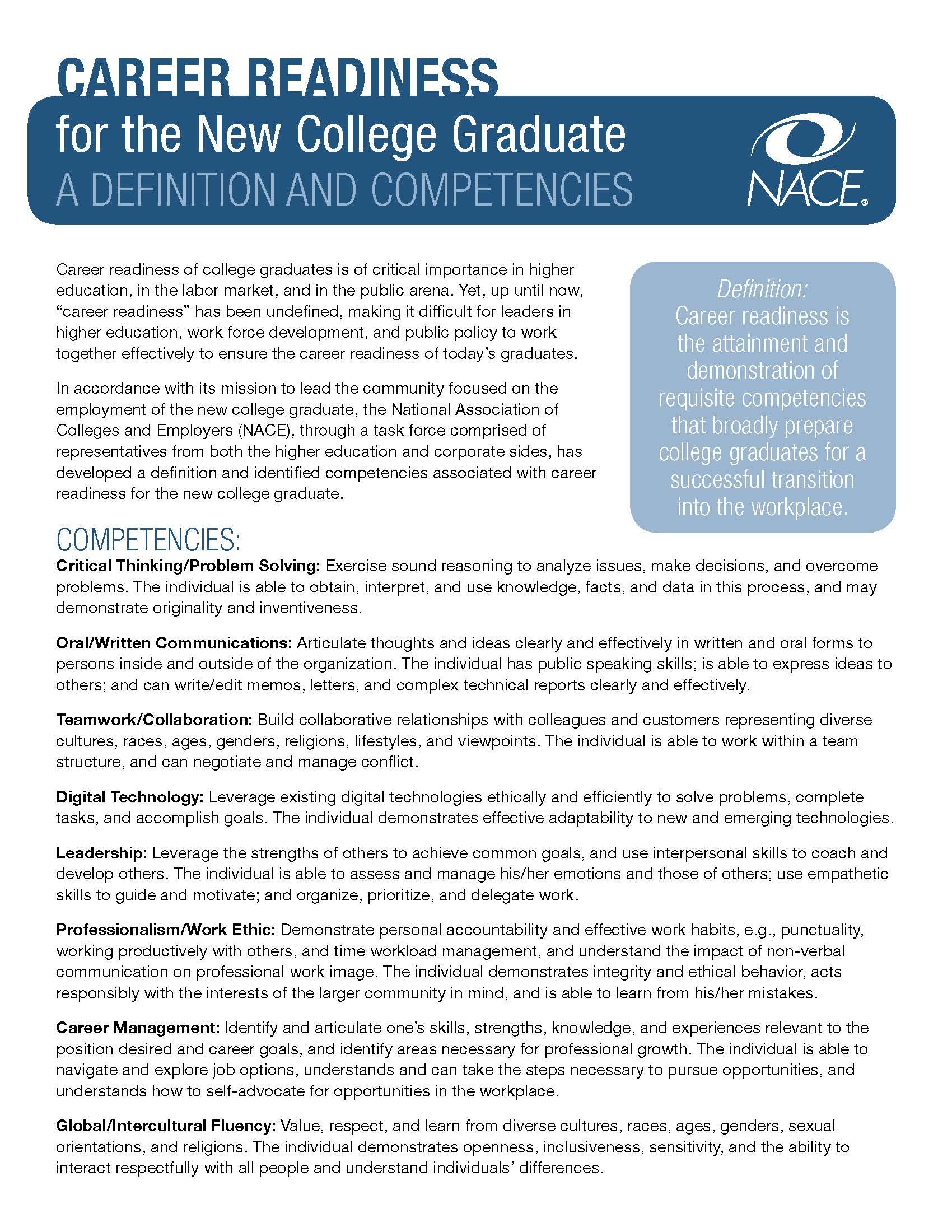 Internship Corner Career Readiness Competencies Career