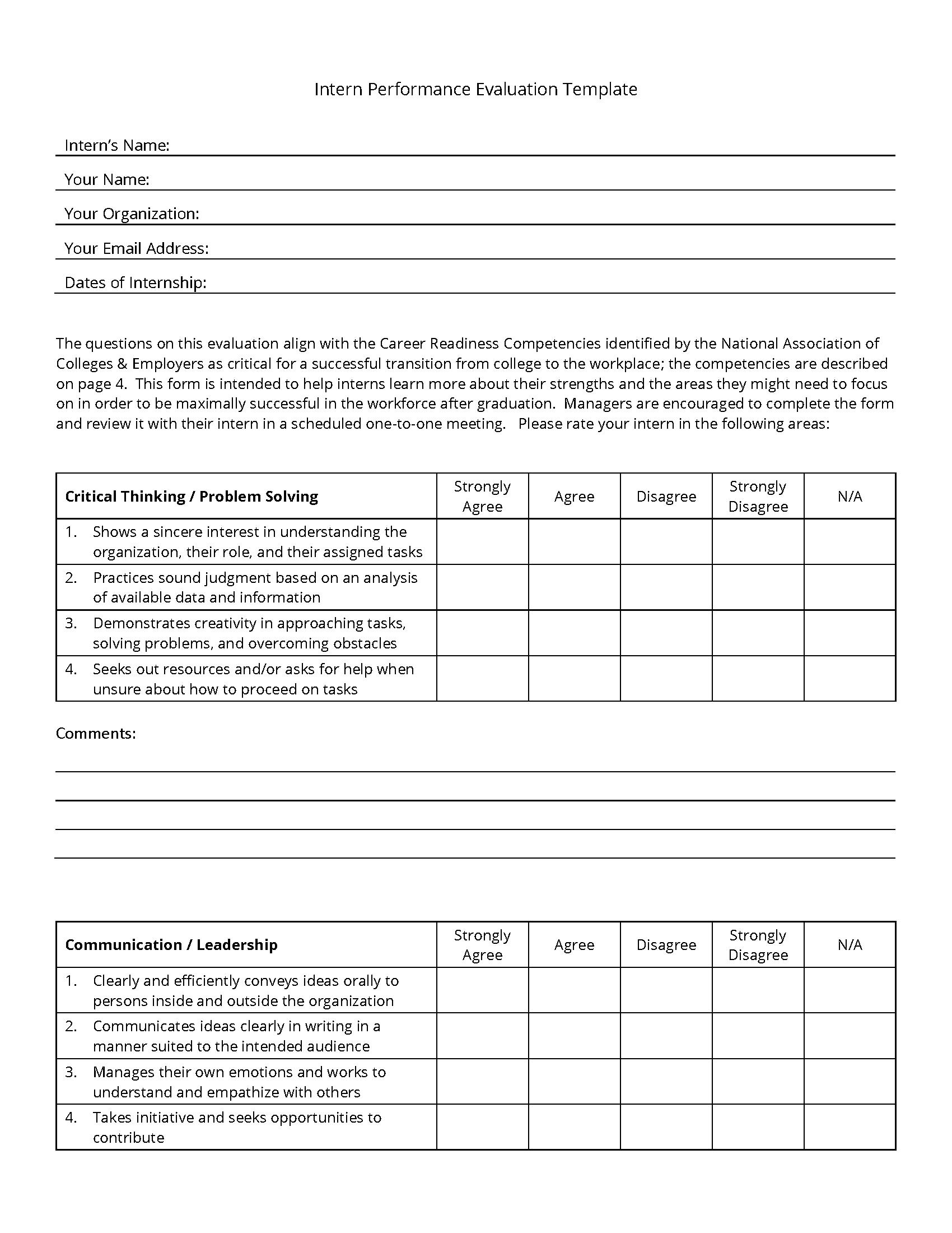 Intern Performance Evaluation Template Career