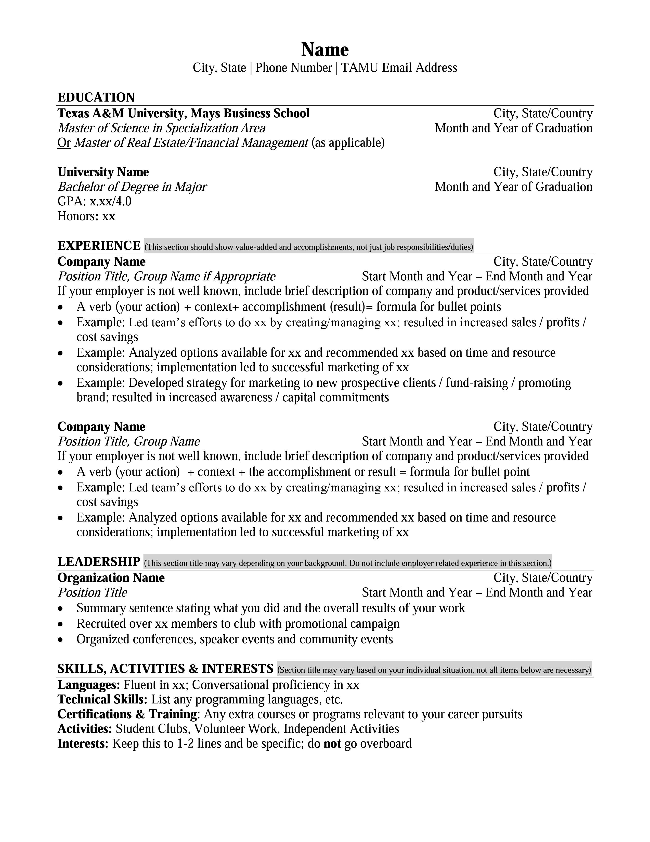Appealing formula for wonderful business administration resume. Mays Masters Resume Format Career Management Center Mays Business School