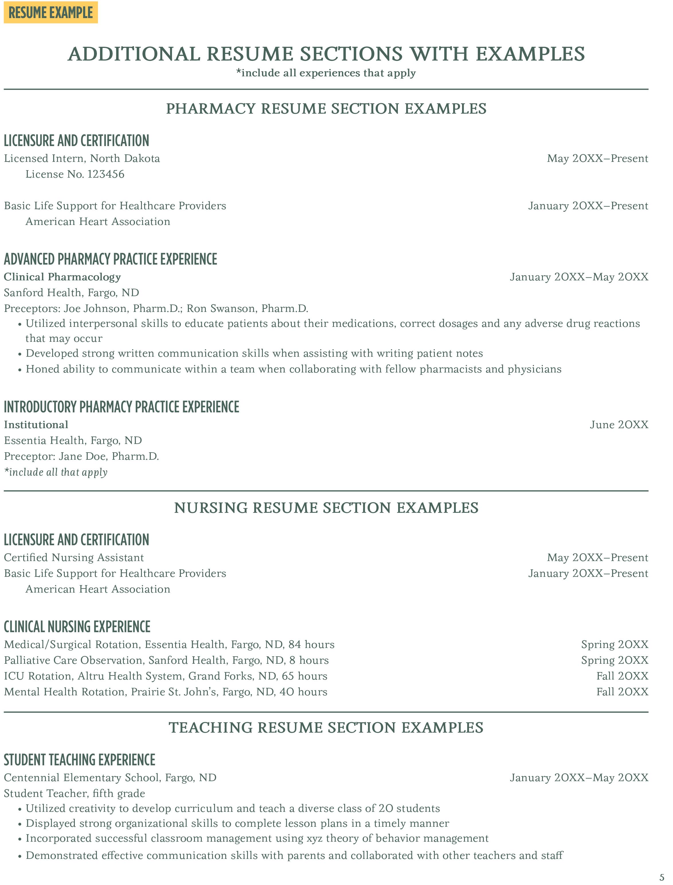 Careerlink Resume Builder Additional Resume Sections With Examples Career Center North