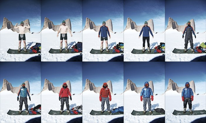 Andy Kirkpatrick demonstrates his Antarctica layering system!, 240 kb