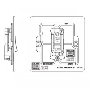BG Nexus Flatplate Screwless Polished Chrome 10A 1 Gang 2