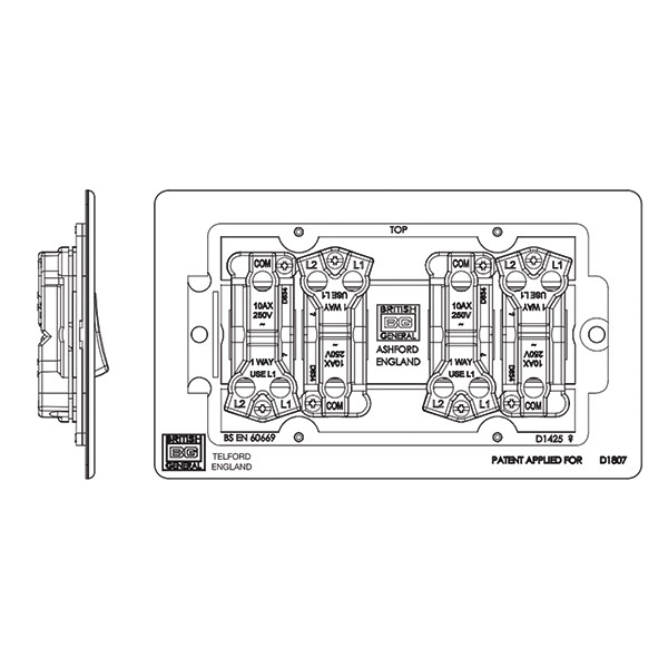 BG Nexus Flatplate Screwless Black Nickel 10A 4 Gang 2 Way