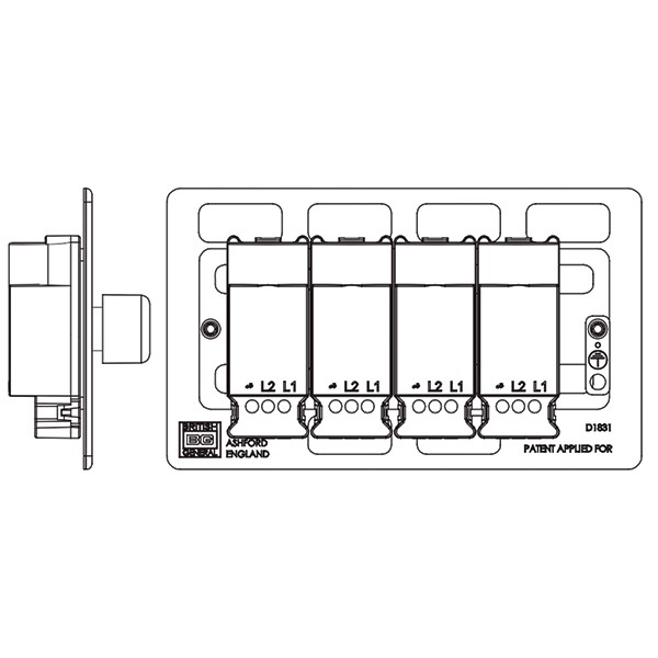 BG Nexus Flatplate Screwless Polished Chrome 400W 4 Gang 2