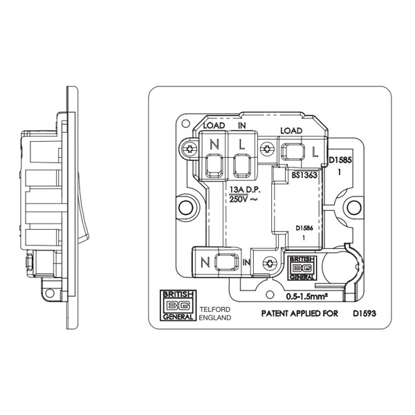 BG Nexus Flatplate Screwless Switched FCU + Neon + Outlet