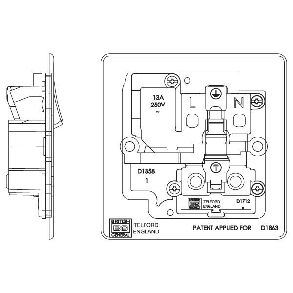 BG Nexus Flatplate Screwless Polished Chrome 13A 1 Gang