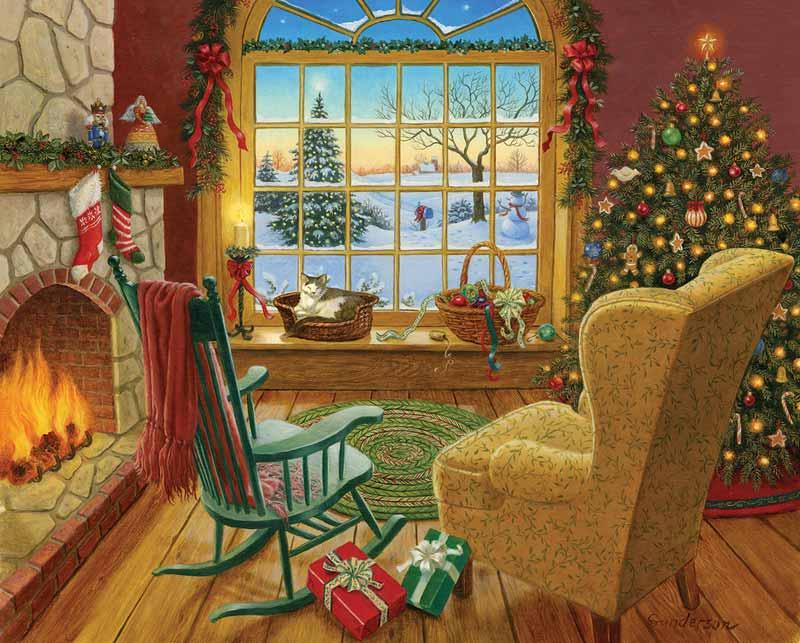 Cozy Christmas Cat Jigsaw Puzzle