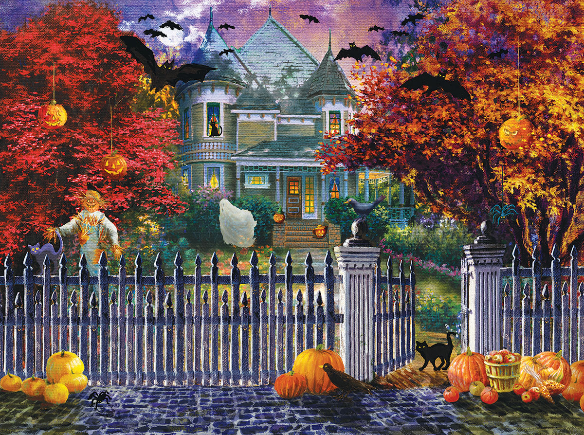 Free Fall Halloween Wallpaper Halloween House Jigsaw Puzzle Puzzlewarehouse Com