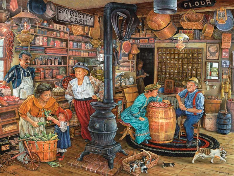 Fall Schoolhouse Wallpaper The General Store Jigsaw Puzzle Puzzlewarehouse Com