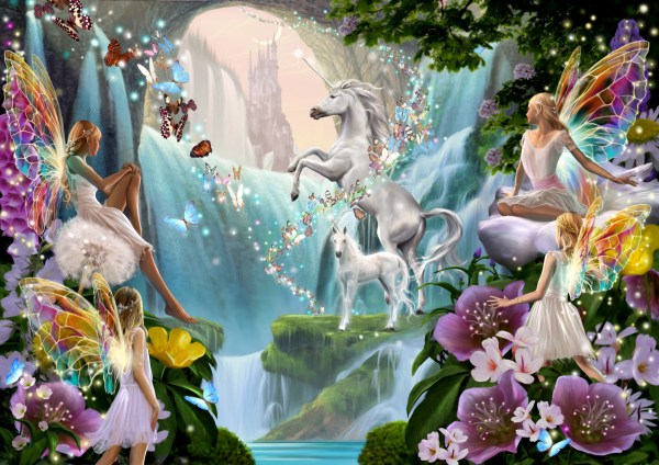 Fairy with Unicorn and Waterfall