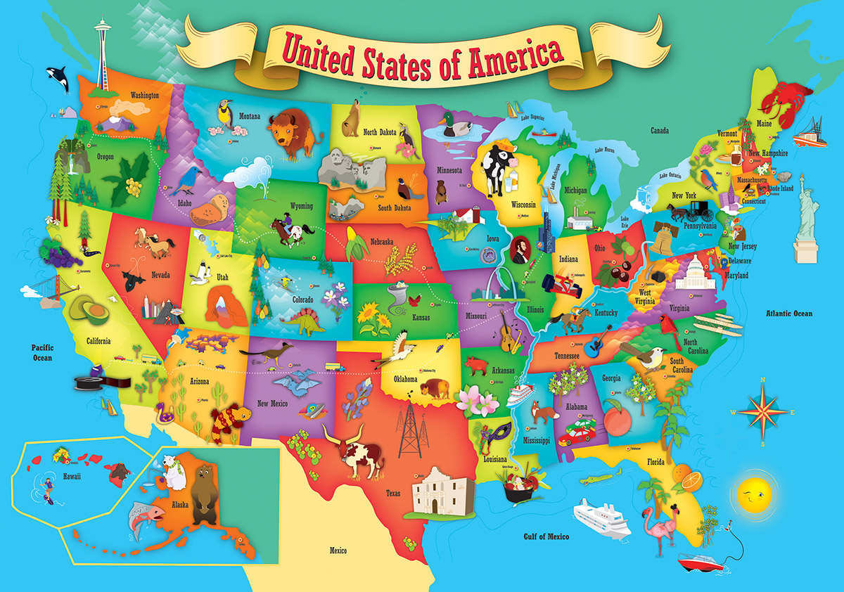 Usa Wood Map 44 Pieces Masterpieces
