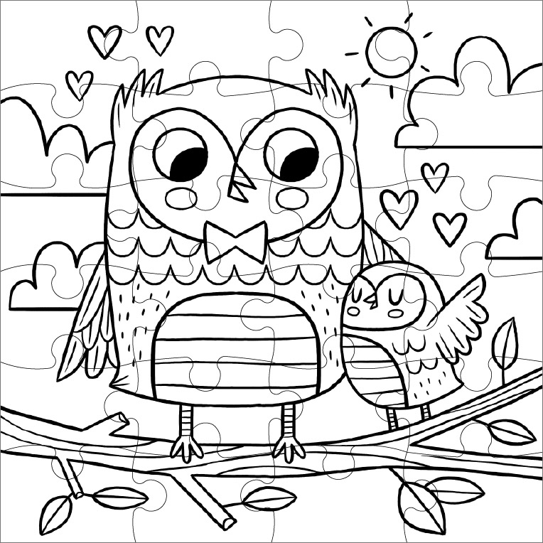 printable puzzle to color sweet owls color in puzzle