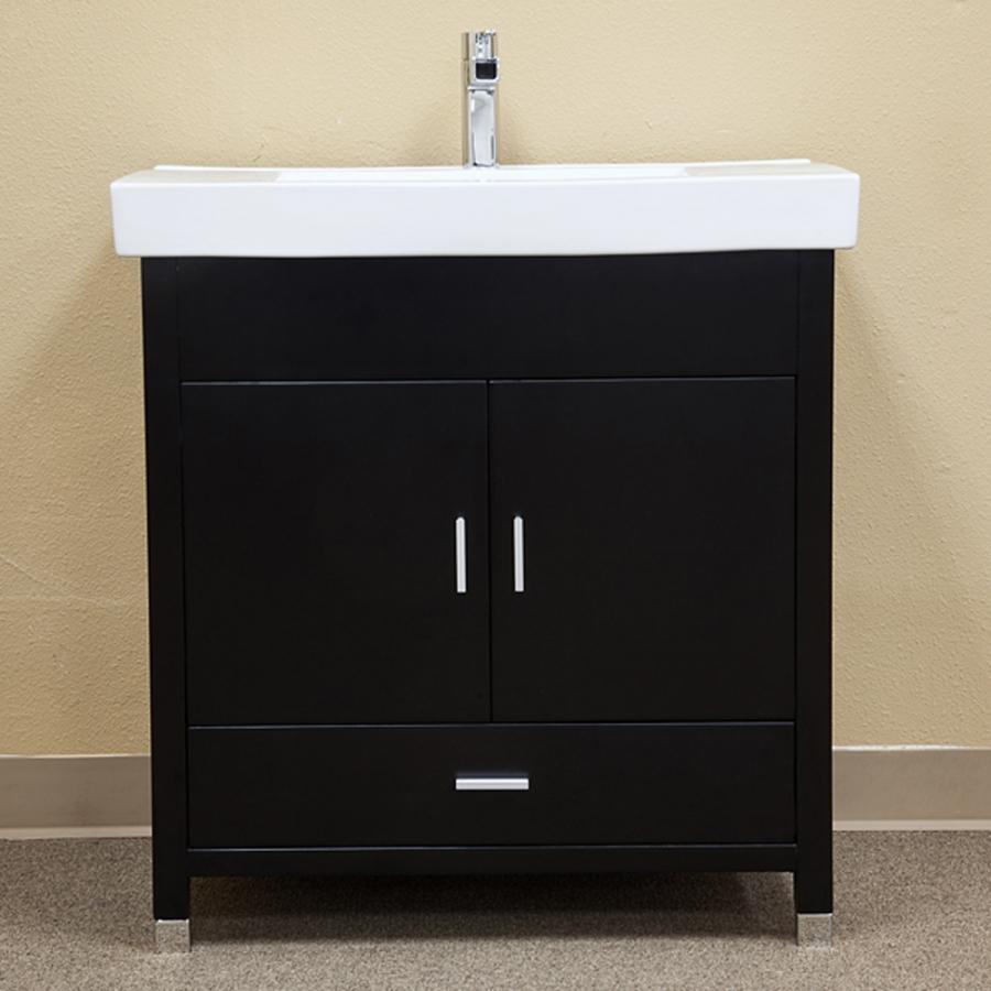 32 Inch Black Single Sink Bathroom Vanity with Integrated