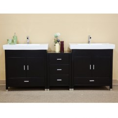 Narrow Kitchen Sink Bar Furniture 81 Inch Double Bathroom Vanity In Black Uvbh203107d81
