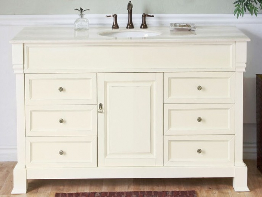 50 Inch Single Sink Bathroom Vanity in Cream White