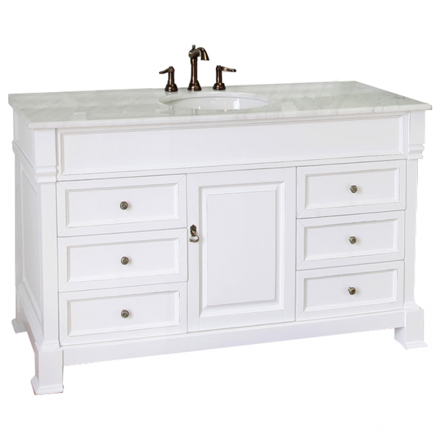 60 Inch Single Sink Bathroom Vanity with White Marble