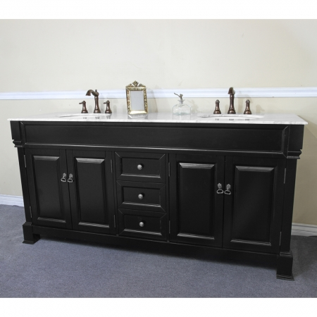 72 Inch Double Sink Bathroom Vanity with White Marble