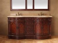 72 Inch Double Sink Bathroom Vanity with Travertine ...