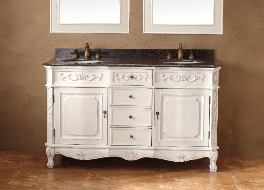 60 Inch Double Sink Bathroom Vanity in Antique White