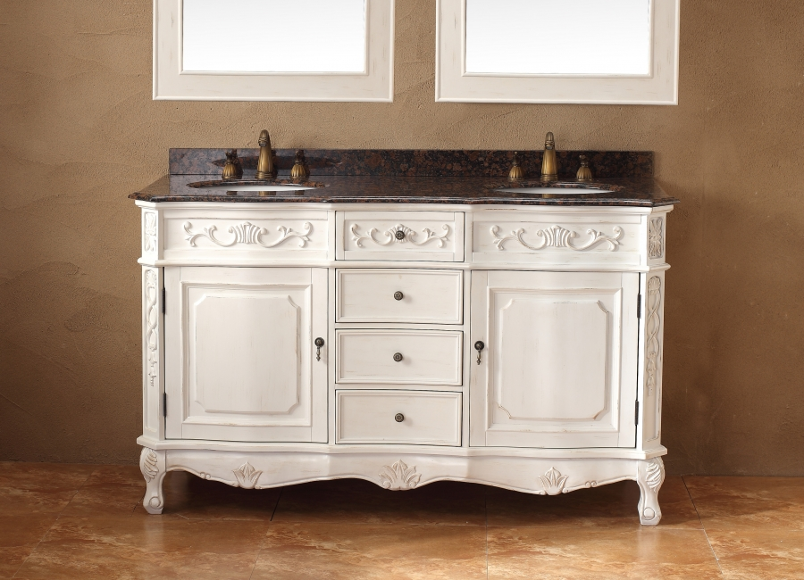 double kitchen sinks for sale ceramic tile 60 inch sink bathroom vanity in antique white ...