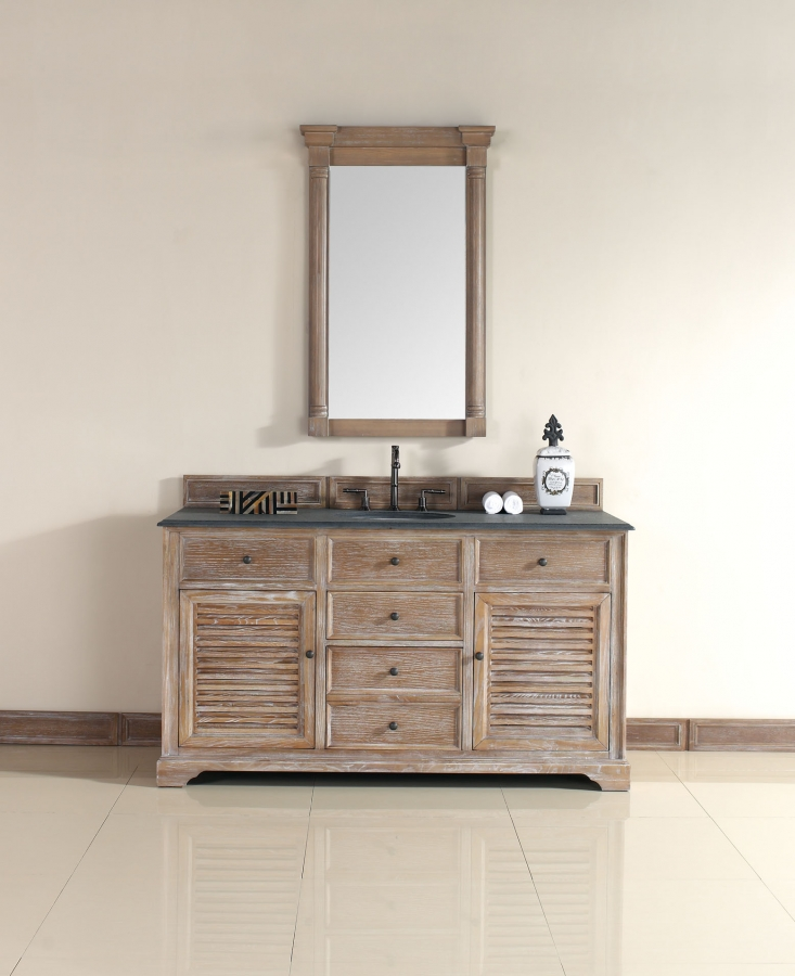 60 Inch Single Sink Bathroom Vanity in Driftwood Finish