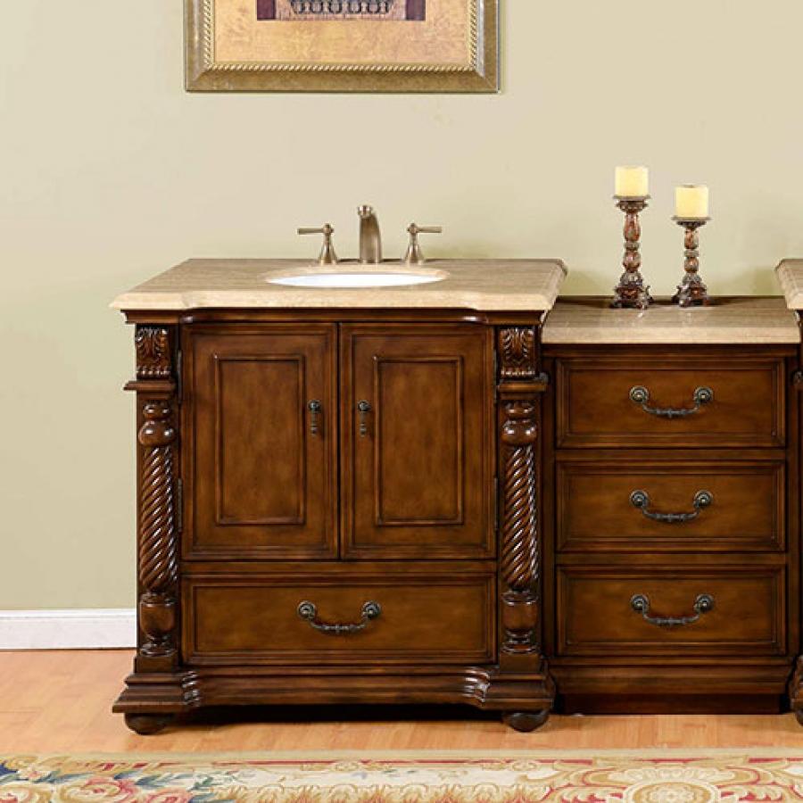 57 Inch Single Sink Bathroom Vanity with Extra Bank of