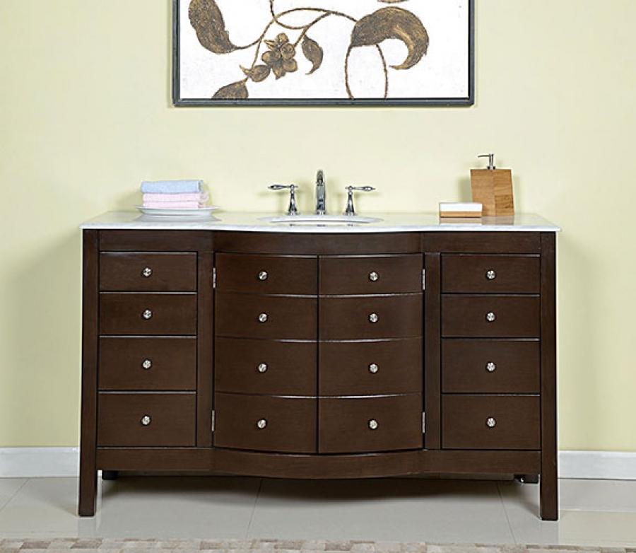 60 Inch Single Sink Bathroom Vanity In Dark Walnut