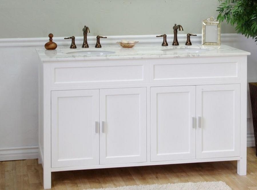 60 Inch Double Sink Bathroom Vanity in White UVBH60016860W60